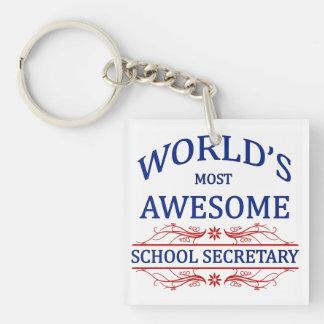 La secretaria más impresionante de la escuela del  llavero cuadrado acrílico a una cara