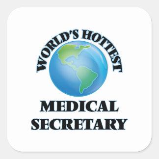 La secretaria médica más caliente del mundo calcomanias cuadradas