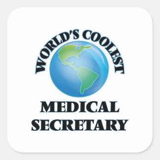 La secretaria médica más fresca del mundo calcomanías cuadradass