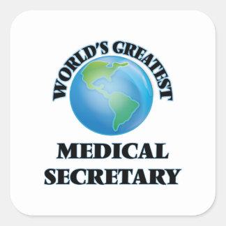 La secretaria médica más grande del mundo calcomanía cuadradas personalizadas