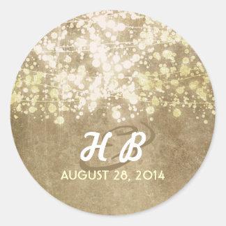 la secuencia de la hoja de oro enciende el boda pegatina redonda
