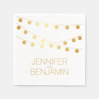 la secuencia de la hoja de oro enciende el boda servilletas de papel