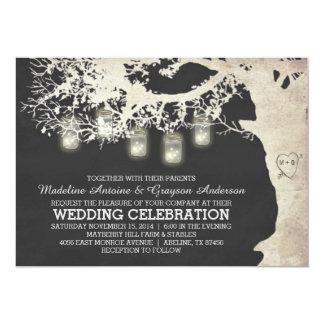 La secuencia del tarro de albañil enciende el boda invitación 12,7 x 17,8 cm
