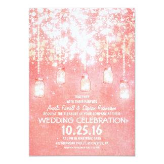 La secuencia rosada enciende casarse brillante de invitación 12,7 x 17,8 cm