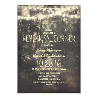 la secuencia rústica enciende la cena del ensayo invitación 12,7 x 17,8 cm