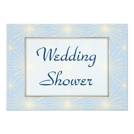La seda entona la ducha azul del BODA Invitación 12,7 X 17,8 Cm