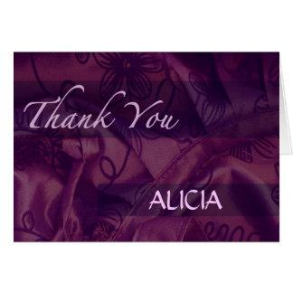 La seda y el satén púrpuras le agradecen tarjeta d