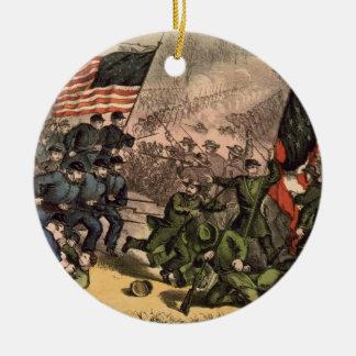 La segunda batalla de la guerra civil americana adorno redondo de cerámica