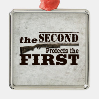 La segunda enmienda protege la Primera Enmienda Adorno Cuadrado Plateado