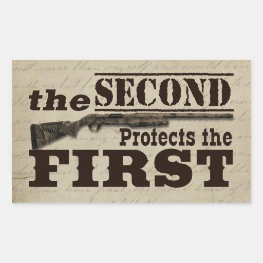 La segunda enmienda protege la Primera Enmienda Rectangular Pegatinas