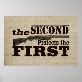 La segunda enmienda protege la Primera Enmienda Póster