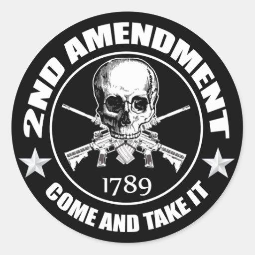 La segunda enmienda viene tomarle el cráneo y AR Pegatina Redonda