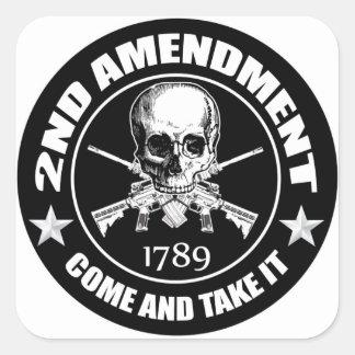 La segunda enmienda viene tomarle el cráneo y AR Pegatina Cuadrada