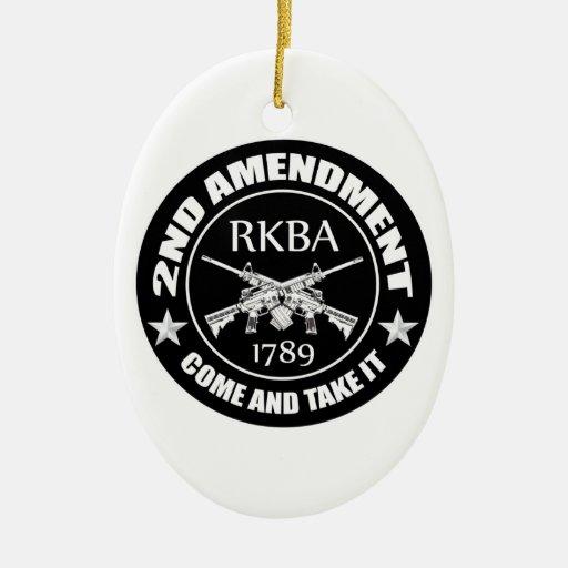 La segunda enmienda viene tomarle RKBA AR Adorno Navideño Ovalado De Cerámica