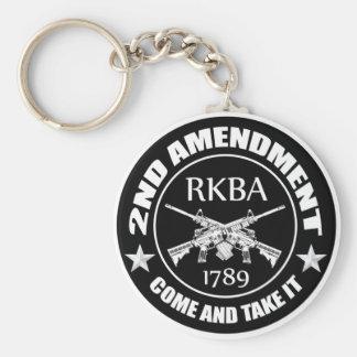 La segunda enmienda viene tomarle RKBA AR Llavero Redondo Tipo Pin