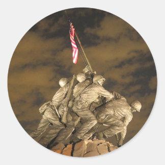 La Segunda Guerra Mundial Iwo Jima Arlington Pegatina Redonda