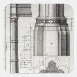 La segunda orden de la arquitectura gótica, 1741 pegatina cuadrada