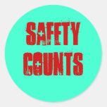 La seguridad cuenta a los pegatinas etiquetas redondas