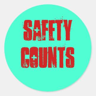 La seguridad cuenta a los pegatinas