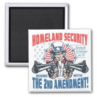 La seguridad de patria comienza con la 2da enmiend imán cuadrado
