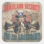 La seguridad de patria comienza con la segunda pegatinas cuadradases