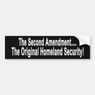 La seguridad de patria original etiqueta de parachoque