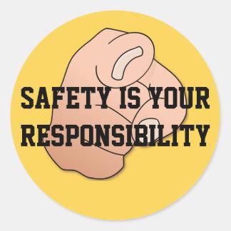 La seguridad es su pegatina de la responsabilidad