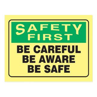 La seguridad primero, sea consciente postal