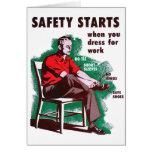 La seguridad retra del trabajo del kitsch del vint tarjetón