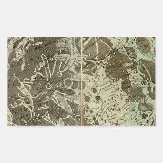 La selenografía o un mapa de Bowles de la luna - Pegatina Rectangular