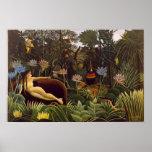 La selva ideal de Henri Rousseau florece la pintur Posters