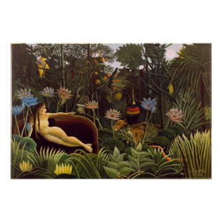 La selva ideal de Henri Rousseau florece la pintur Póster