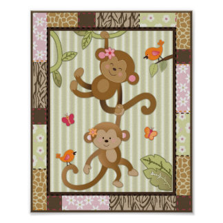 La selva Jill Monkeys arte del cuarto de niños de