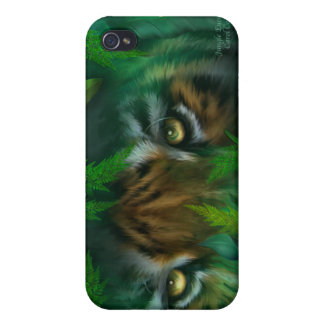 La selva observa - el caso del arte del tigre para iPhone 4/4S carcasa
