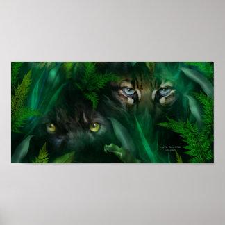 La selva observa - poster del arte de la pantera y