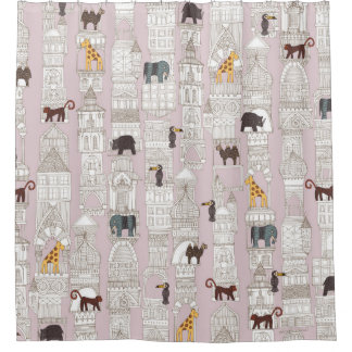 la selva urbana se ruboriza rosa cortina de baño