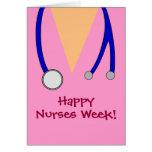 La semana feliz rosada linda de las enfermeras fri tarjetón