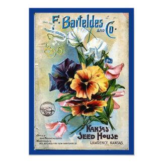 La semilla de flor embala arte del vintage invitación personalizada