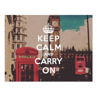 La señal de Londres del vintage guarda calma y Tarjetas Postales
