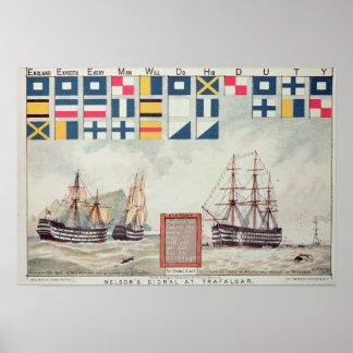 La señal de Nelson en Trafalgar Póster