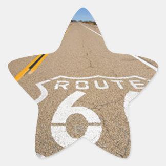 la señal de tráfico de la ruta 66 comienza la pegatina en forma de estrella