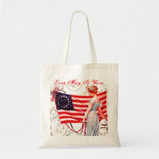 La señora 4ta de la bandera del tote de julio elig bolsa tela barata