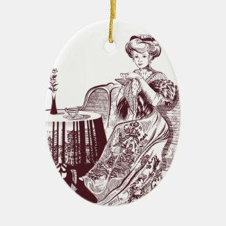 la señora bebe té adorno navideño ovalado de cerámica