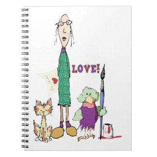 La señora Cat y pájaro celebra amor y arte Libro De Apuntes