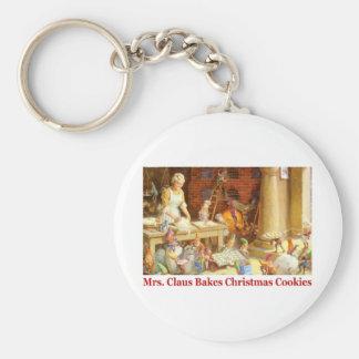 La señora Claus y los duendes cuece las galletas d Llavero Redondo Tipo Pin
