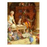La señora Claus y los duendes cuece las galletas d Tarjeta Postal