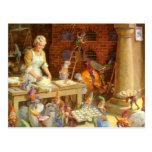 La señora Claus y los duendes cuece las galletas d Postales
