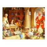 La señora Claus y los duendes cuece las galletas Postal