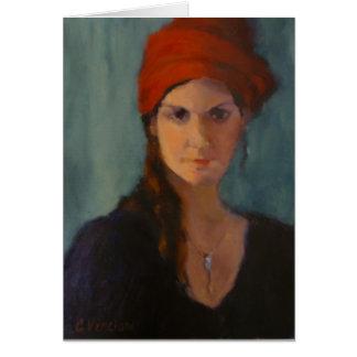 La señora con el turbante rojo tarjeta de felicitación