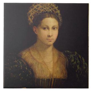 La señora con el turbante verde azulejo cuadrado grande